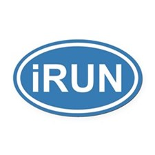 iRUN I RUN Blue Euro Oval Car Magnet