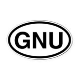 GNU Oval Car Magnet