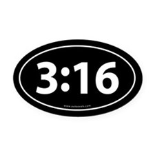 John 3:16 Euro Bumper Oval Car Magnet -Black