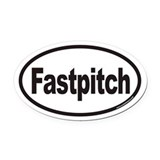 Fastpitch Euro Oval Car Magnet