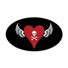Skull + Heart + Wings Oval Car Magnet