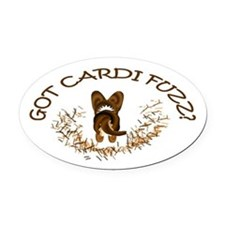 Got Cardi Fuzz? Brindle Oval Car Magnet