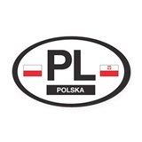 PL Car Decal - Polska (Poland) - Oval Car Magnet