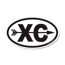 Cross Country Running XC Euro Oval Car Magnet with