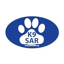 K9 SAR Oval Car Magnet
