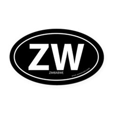 Zimbabwe country bumper Oval Car Magnet -Black (Ov