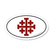 Jerusalem Cross Oval Car Magnet -Red Logo (Oval)