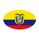 Ecuador Flag Banner Oval Car Magnet