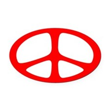 Peace Oval Car Magnet (Neo Red)