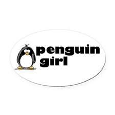 Penguin girl Oval Car Magnet