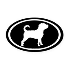Puggle Dog Oval (white on black) Oval Car Magnet