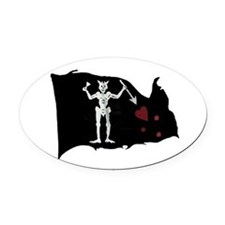 Blackbeard Pirate Flag Oval Car Magnet