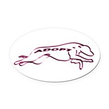 Adopt a Greyhound (Neon) Oval Car Magnet