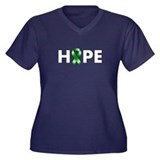 Green Ribbon Hope Women's Plus Size V-Neck Dark T-