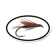 Flyfishing Dry Fly Euro Oval Car Magnet