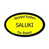 Spoiled Saluki On Board Oval Car Magnet