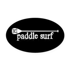 Paddle Surf Skull Black Oval Car Magnet