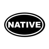 NATIVE Black Euro Oval Car Magnet