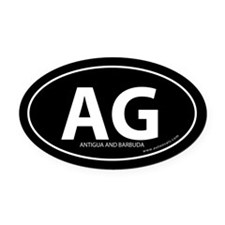 Antigua and Barbuda bumper Oval Car Magnet -Black