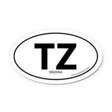 Tanzania country bumper Oval Car Magnet -White (Ov