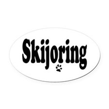 Skijoring Oval Car Magnet