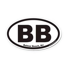 Belmar Beach BB Euro Oval Car Magnet