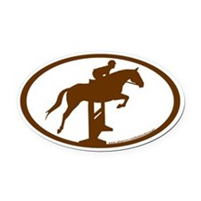 Hunter Jumper Over Fences (brown) Oval Car Magnet