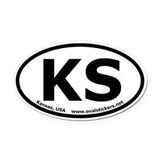 Kansas, USA Oval Bumper Oval Car Magnet
