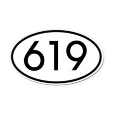 619 San Diego Area Code Oval Car Magnet