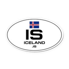 UN-Style Oval Automobile Oval Car Magnet - Iceland