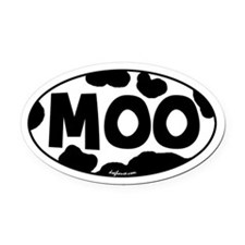 Moo Oval Car Magnet