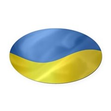 Ukrainian Flag Wavy Oval Car Magnet