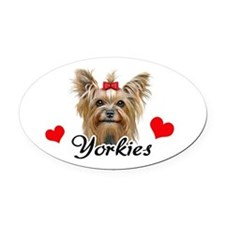 Love Yorkies Oval Car Magnet