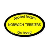 Spoiled Norwich Terriers On Board Oval Car Magnet