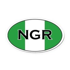 Nigerian Flag Oval Car Magnet