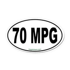 70 MPG Euro Oval Car Magnet