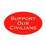 Support Our Civilians (Red) Oval Car Magnet