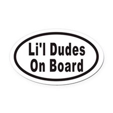 Li'l Dudes On Board Oval Car Magnet