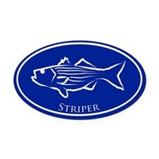 Blue Striper Oval Car Magnet
