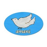 Amani Swahili Peace Dove Oval Car Magnet
