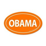 Barack Obama Auto Oval Car Magnet -Orange