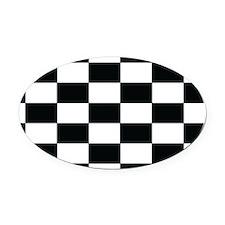 Checkered Flag Black/White Euro Oval Car Magnet