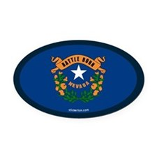 Nevada State Flag Oval Car Magnet