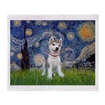 Starry-Siberian pup Throw Blanket