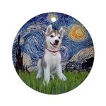 Starry-Siberian pup Ornament (Round)