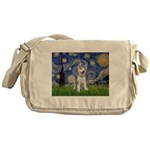 Starry-Siberian pup Messenger Bag