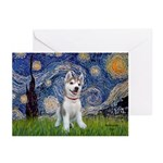 Starry-Siberian pup Greeting Cards (Pk of 10)