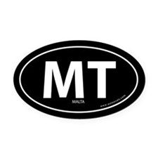 Malta country bumper Oval Car Magnet -Black (Oval)