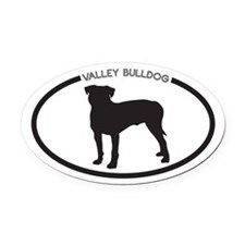 Valley Bulldog Silhouette Oval Car Magnet