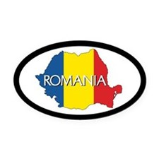 Romania Oval Car Magnet